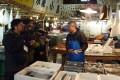 Filming the documentary inside Tsukiji fish market. Photo: Kyodo