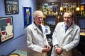 Dr. George Koob (left) and Dr. Lorenzo Leggio pose for a photograph in a research laboratory designed as a bar inside the National Institutes of Health's hospital in Bethesda. Photo: AP