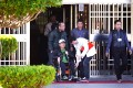 Former Taiwanese president Chen Shui-bian leaves Taichung Prison, pushed by his son, Chen Chih-chung. Photo: CNA