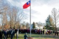 Attendees take part in the New Year's Day flag-raising ceremony at Twin Oaks Estate in Washington. It was the first time in 36 years that the flag had been flown at the official residence of Taiwan's representative to the US. Photo: CNA