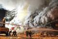 Firefighters tackling the blaze last week in Harbin. Photo: EPA