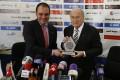 Jordan's Prince Ali and the man he hopes to oust, Sepp Blatter. Photo: AP