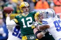 Packers quarterback Aaron Rodgers  looks to pass in the second quarter against the Cowboys. Photo: AFP