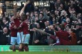 West Ham striker Andy Carroll celebrates bagging the opening goal of the 3-0 win against Hull City. Photo: AFP
