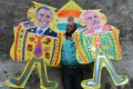 Kites adorned with images of Obama and Modi. Photo: AFP