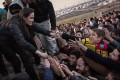 UNHCR Special Envoy Angelina Jolie meets members of the Yazidi minority in Iraq on Sunday. Photo: EPA