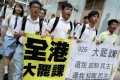 """Students take part in a class boycott just before the Occupy protests. In the eyes of Chen Zuoer, Hong Kong's education sector was """"in a mess"""". Photo: Dickson Lee"""