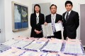 From left: Acting chief inspector Cheng Yan-yan, chief inspector Addy Li and senior inspector Kelvin Cheung Ka-wing show off the drug haul. Photo: SCMP
