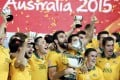 Australia players celebrate after winning the Asian Cup final in Sydney. Photo: Reuters