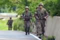 South Korean soldiers patrol along a roadside near the Demilitarized Zone (DMZ) between the two Koreas. Photo: AFP