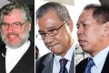 Prosecutor Andrew Bruce SC (left) gave a four-hour summary of his case against Hongkong Electric's Lamma IV captain Chow Chi-wai (centre), and Hong Kong and Kowloon Ferry's Sea Smooth skipper Lai Sai-ming (right). Photos: David Wong, Sam Tsang