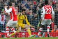 Arsenal striker Olivier Giroud (left) scores the opening goal against Middlesbrough. Photo: AFP