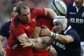 Scotland's Blair Cowan (right) challenges Alun Wyn Jones of Wales during their Six Nations match at Murrayfield. Photo: Reuters