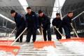 Working staff clear snow at a platform of Shenyang North Railway Station in Shenyang, Liaoning. Photo: Xinhua