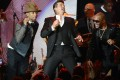 From left: Pharrell Williams, Robin Thicke and T.I. perform 'Blurred Lines'. The latter artist was cleared of any wrongdoing in the lawsuit. Photo: Reuters
