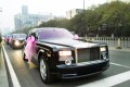 A photograph posted online, which made national headlines in November, of some of the 30 Rolls-Royce Phantom cars taking guests to a lavish wedding banquet in Hebei province. Photo: Weibo
