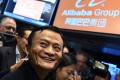 Alibaba founder Jack Ma on the floor of the New York Stock Exchange on IPO debut day. Photo: AFP
