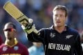 New Zealand's Martin Guptill acknowledges the crowd after his 237 against the West Indies. Photo: Reuters