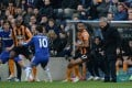 Chelsea manager Jose Mourinho barks orders from the sideline against Hull. Photo: AFP