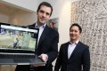Google Hong Kong managing director Dominic Allon (left) shows off the website with Art Research Institute founder Jehan Chu. Photo: May Tse