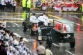 The body of Lee Kuan Yew is transferred atop a gun carriage as they leave Parliament House during a funeral procession. Photo: AFP