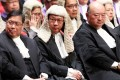 """Secretary for Justice Rimsky Yuen (centre) was questioned  by the Progressive Lawyers Group about his failure to defend the judiciary against what the group saw as """"unwarranted attacks on the judiciary"""". Photo: Sam Tsang"""