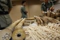 Customs officials at with some illegal ivory seized. Photo: Nora Tam