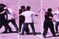 Surveillance footage shows Chinese auxiliary policewoman Cao Yu, 22, fighting with a machete-wielding suspect with only her bare hands. Photos: Anshun Police