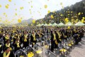 People release yellow balloons during a ceremony to commemorate the first anniversary of South Korea's Sewol ferry disaster at the southern island of Jindo. Photo: AFP