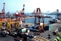Ships are loaded with goods at a container terminal of Keelung Harbour in northern Taiwan. Photo: EPA