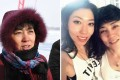 A woman identified by China Daily as Harbin city official Qu Zhang Mingjie (left) at an ice-fishing festival in 2010. On the right is a photo of singer Wanting Qu and her mother, posted by Qu to social media. Photo: SCMP Picture