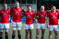 Hong Kong's players get their game faces on before the start of the Asia Rugby Championship clash with South Korea. Photo: HKRFU