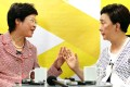 Hong Kong Chief Secretary Carrie Lam Cheng Yuet-ngor (left) interviewed by Chairwoman of the Democratic Party Emily Lau Wai-hing on online TV on Thursday. Photo: Felix Wong