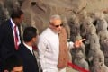 Indian Prime Minister Narendra Modi visits the site of the Terracotta Army in Xian on Thursday on the first day of his visit to China. Photo: Xinhua weibo