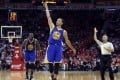 Golden State's Stephen Curry salutes the fans during the Warriors game three win over Houston Rockets in the Western Conference finals. Photo: USA TODAY Sports