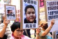 Protesters rallied against the boy's bid to stay in Causeway Bay on Monday. Photo: Sam Tsang