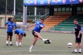 Leicester City midfielder Jak McCourt warming up for the HKFC Citibank Soccer Sevens. Photos: SCMP Picture