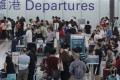 Crowded departures area at Chek Lap Kok on Sunday, May 24. Photo: SCMP Pictures