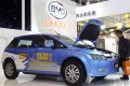 A BYD electric car on display in China as the company plans to raise 15 billion yuan from a share placement. Photo: Reuters