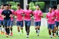 Hong Kong's 'diverse' squad of 'black skin, yellow skin and white skin people' in training on Monday. Photo: Xinhua