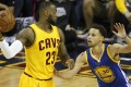 All eyes will be on LeBron James, seen facing off against Stephen Curry of the Golden State Warriors. Can James coax two more wins out of his banged-up and exhausted team over a superior Warriors squad? Photo: EPA