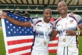 Carlin Isles (left) and Perry Baker celebrate their title triumph at the London Sevens last month, The USA defeated Canada 21-5 on Sunday to win the NACRA Sevens and book a place at the 2016 Rio Olympics. Photo: AP