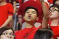 A Hong Kong fan boos during the national anthem before the World Cup qualifier against the Maldives at Mong Kok Stadium. Hong Kong won 2-0. Photo: AP