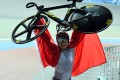 Hong Kong's Sarah Lee celebrates after the women's sprint finals of cycling track competition at the 17th Asian Games in Incheon. Photo: Xinhua