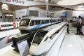 CRRC's train models on display at an exhibition in Beijing. The company's shares are performing badly. Photo: Xinhua