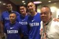 From left: Eastern's Chris Barnes, Heung Chun-keung (both players) coach Tam Wai-Yeung , Assistant director Lee Wai-Lin, director Peter Leung Shou-chi.