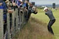 Jordan Spieth plays from the rough on hole 16 during a practice round at the British Open at St. Andrews. Photo: AP