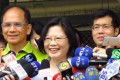 Tsai Ing-wen (centre) is the prohibitive favourite to be elected Taiwan's president on January 16. Photo: EPA