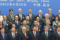 President Xi Jinping (bottom row, fourth left) and other AIIB delegates, some from countries that are sceptical of China's leadership in the venture. Photo: Kyodo