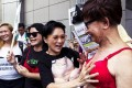 Demonstrators show a united front in support of Ng Lai-ying. Photo: Reuters